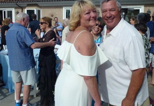 Blake: Carolyn, left, and Alex Rentziperis pose for a photo at their wedding on April 21. Photo: Courtesy of Tom Blake