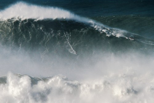 If this wave from Nazare, Portugal, looks big it's because it is. Measuring in at 80 feet, it's the biggest wave ever ridden. Photo: Pedro Cruz/WSL
