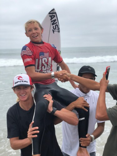 San Clemente's Jett Schilling gets chaired up the beach at Lowers after claiming the under 16 title at the USA Surfing Championships. Photo: Kurt Steinmetz/USA Surfing
