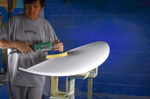 Timmy Patterson continues to make and glass surfboards in his shop. Photo: Timmy Patterson Archive