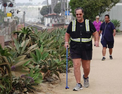 Four-time stroke survivor Mycle Brandy, pictured herein Sept. 2018, could often be seenwith his cane on San Clemente's beach trail, training for a plannedwalkfrom the West Coast to the East Coast. / Photo by Fred Swegles