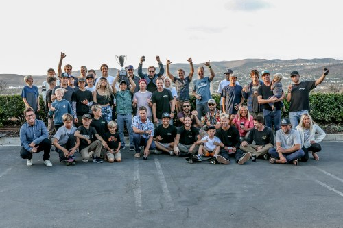 Smells like team spirit: The San Clemente Board Riders Club celebrating an undefeated regular season after a command performance last weekend at Church. Photo: Ron Lyon / WCBR