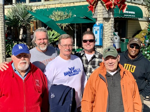 Retired San Clemente Police Department officers, left to right, Barth Massey, Scott Vanover, Vern McGarry, Rich Corder, Tom Haight and Neil Murray. Photo: Courtesy of Richard Corder