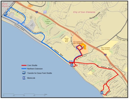 This map shows the recently approved route of the San Clemente Summer Trolley Program, which starts Memorial Day Weekend. Photo: Courtesy of the city of San Clemente