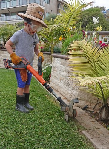 Hudson Roberts, 5, of San Clemente is an aspiring young landscaper whose family supports his passion by providing him tools to work in the yard. / Photo: Fred Swegles