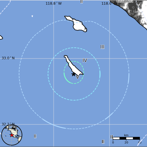 A 4.3 magnitude earthquake struck near San Clemente Island early Wednesday morning, June 5. Graphic: Courtesy of U.S. Geological Survey