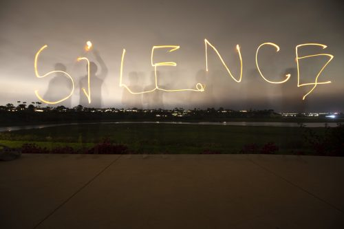 "ArtEvent: The silence image is a reference to the community moving installation portion of ""Tipping Point: Are We Creating a Silence?"" Photo: Brett Hillyard"
