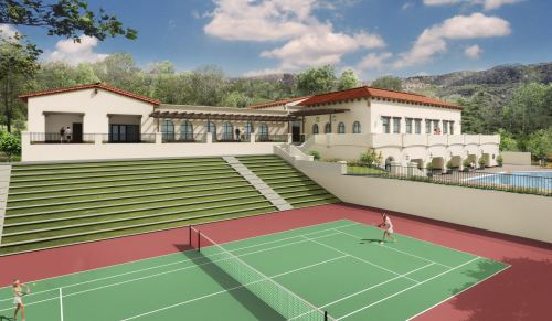 A depiction of a tennis court at the upcoming Life Time Athletic Rancho San Clemente, set to open late this fall in San Clemente. Photo: Courtesy of Life Time