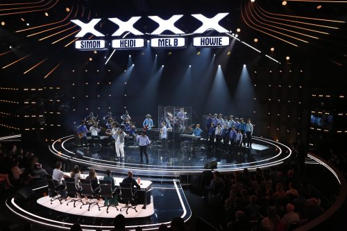 Judges listen as the OC Music and Dance Group, with Stefan Kosmala-Dahlbeck playing violin at left, performs for America's Got Talent in March 2019. Courtesy of Kosmala-Dahlbeck family.