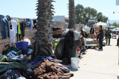 Homeless campers were asked to remove all of their property from the Pico campsite. Only those who could provide proof of San Clemente residency were let back in. Photo: Cari Hachmann
