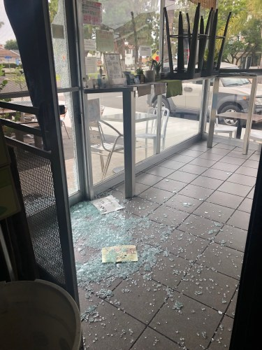 A door was shattered at Kawamata Seafood in Dana Point, one of two restaurants on Camino de Estrella that experienced break-ins on Friday morning, Aug. 23. Photo: Courtesy of Kawamata Seafood