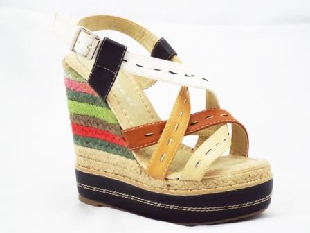 Sandale dama bej cu insertii muticolore