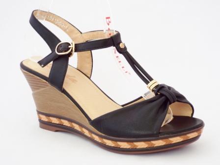 Sandale dama negre cu talpa ortopedica si accesoriu tip impletitura
