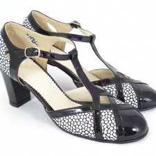 Sandale dama piele negru cu alb Caliope