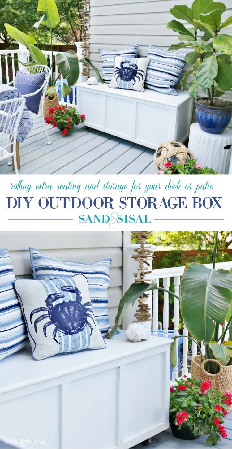 diy outdoor storage box bench sand
