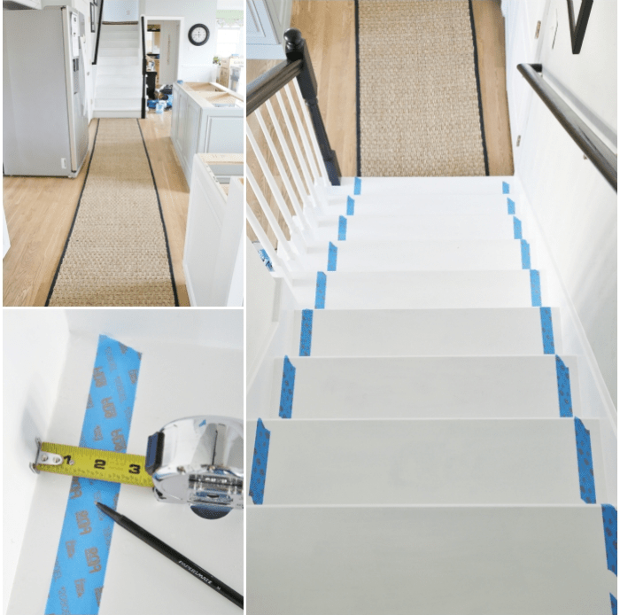 Painted Staircase Makeover With Seagrass Stair Runner | Stair Runners For Carpeted Stairs | Round Corner | Marble | Hardwood | Commercial | Tile Stair