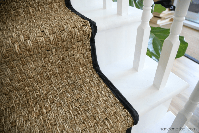 Painted Staircase Makeover With Seagrass Stair Runner | White Stairs With Carpet | Black | Chic | Victorian Staircase Carpet | Hardwood | Pinstripe Grey