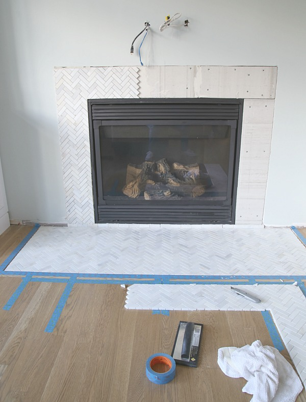 Herringbone Tile Fireplace