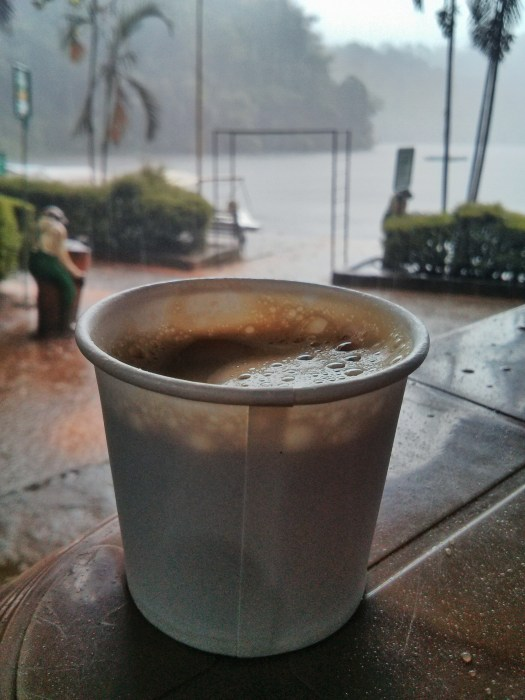 Shot on Nexus 4 - Sipping on hot coffee while it pours in the background. Pookode lake