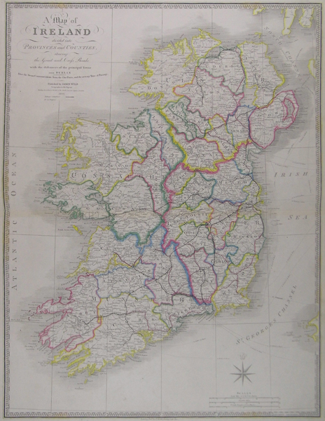 A Map of Ireland divided into Provinces and Counties  showing the     A Map of Ireland divided into Provinces and Counties  showing the Great and  Cross Roads with the distances of the principal Towns from Dublin also the  steam
