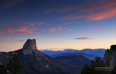 Mont Aiguille during a tranquil dawn.