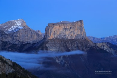 Tranquil sunrise at Mont Aiguille, in the French Vercors.
