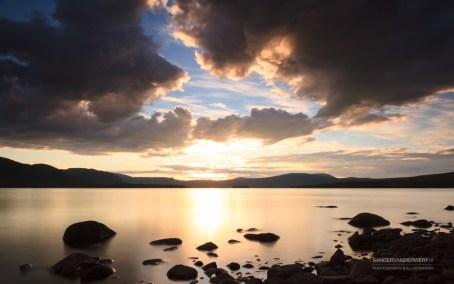 Midsummer night at lake Karats in Lapland.