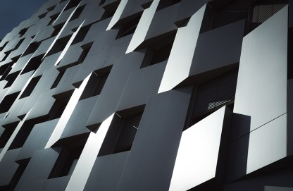 Panels and windows of the Equinox building, Lyon.