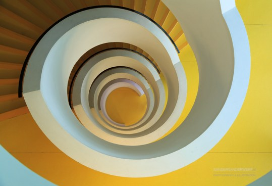 Yellow stairs in the university library of Lyon.
