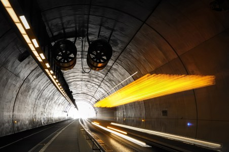 Bus driving in Tunnel de la Croix-Rousse, a new tunnel for public transports, cyclist and pedestrians.