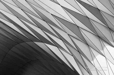 Musee des Confluences in black & white.