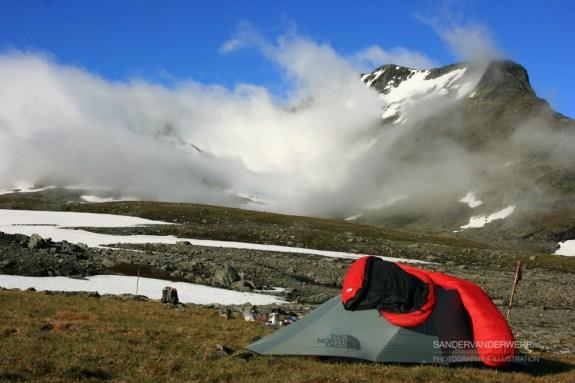Campsite near mountain Sylarna in Sweden.
