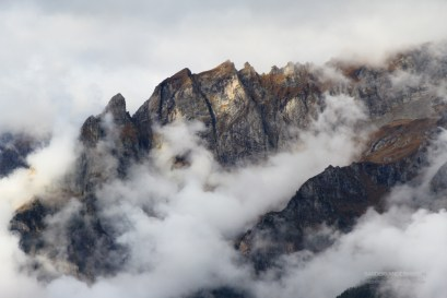 Clouds and mountain in Italy in autumn.