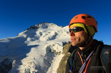 Mountaineer and friend Bjorn, with Les Ecrins in the background.
