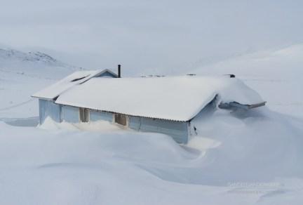 Snowed in Sami house near the Kungsleden trail in Sweden.