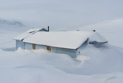 Snowed in Sami house near the Kungsleden trail in Sweden.
