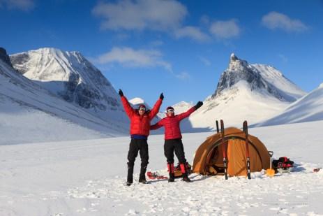Winter campsite joy