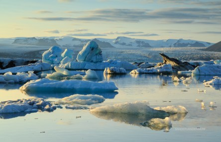 Icebergs and sunset at Jokulsarlon.