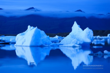 Melting icebergs floating in the Jokulsarlon lagoon.
