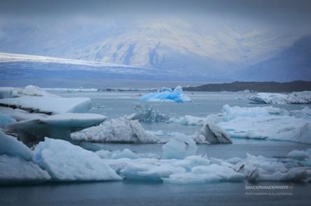 Blue iceberg in the Jokulsarlon lagoon.