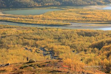 Autumn campsite above the woods of Rapadalen.