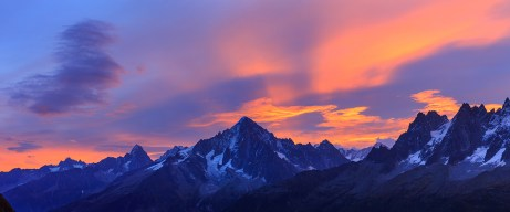 Panorama of the Alps near Chamonix during a colorful, autumn sunrise.