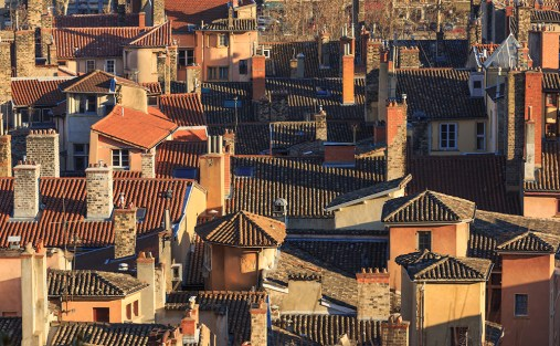 Rooftops and chimneys of the old town Vieux-Lyon (UNESCO World Heritage Site).