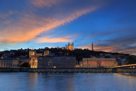 Dusk over the Saone river and the Basilique Notre-Dame de Fourviere.