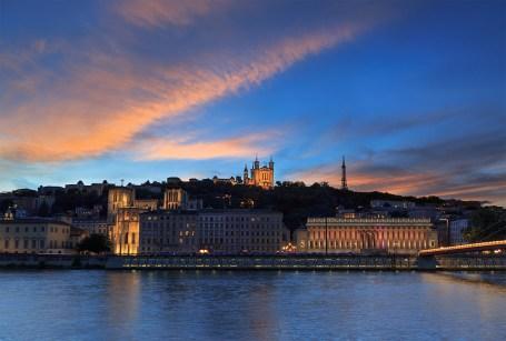 Dusk over the Saone river and the Basilique Notre-Dame de Fourviere.