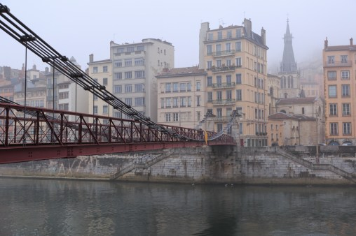 Passerelle Saint-Vincent, over the Saone river, and Vieux-Lyon on a foggy day.