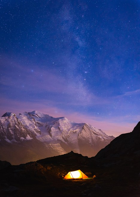 Red tent under the stars near Chamonix and Mont Blanc.
