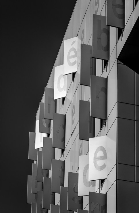 Shutters on a modern building in Confluences.