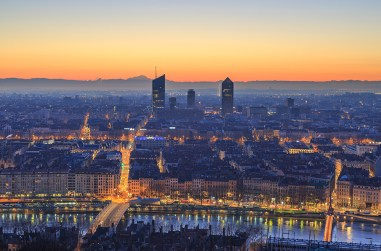 Dawn over the city, seen from landmark Fourviere.
