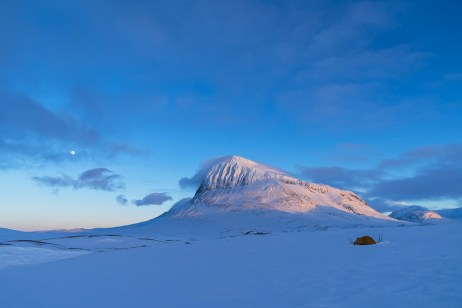 Tent in the snow covered moiuntains of Sarek.